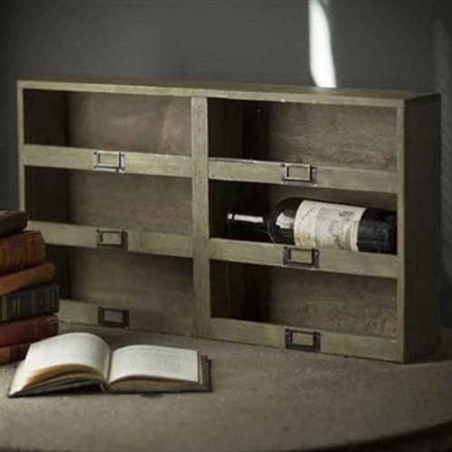 Wine Box with 6 Cubbies and Metal Tag Holder