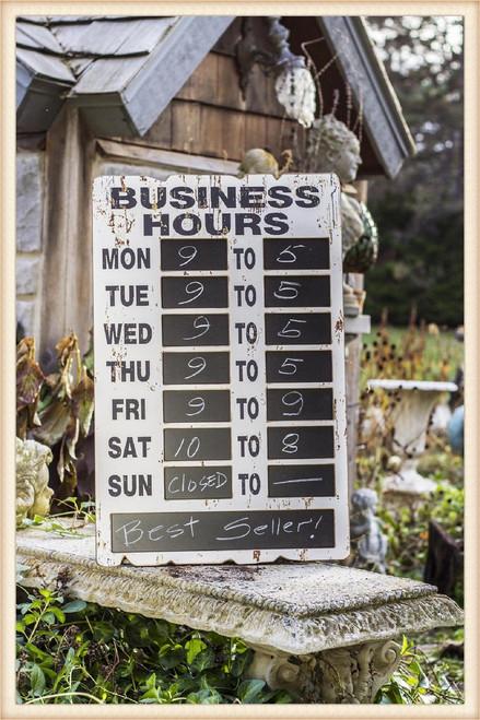 Chalkboard Business Hours Plaque