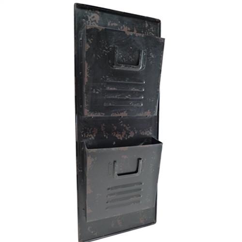 Black Locker Style Wall Pocket Organizer