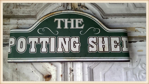 Potted Shed Curved Sign