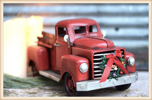 Stubby Red Truck with Wreath