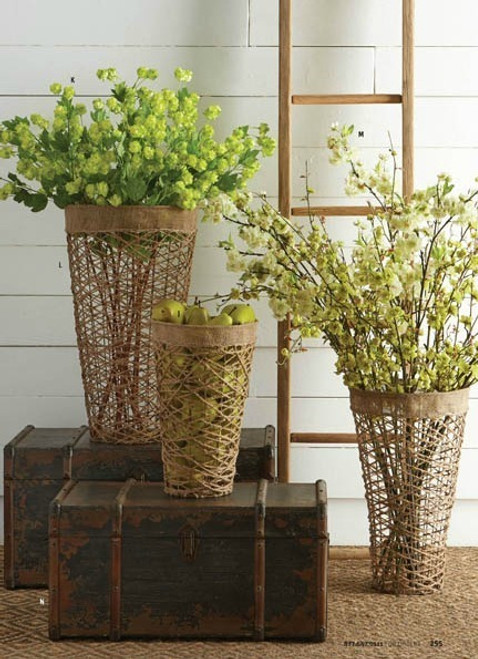 Tall Cylinder Twine Nesting Baskets Set of 3