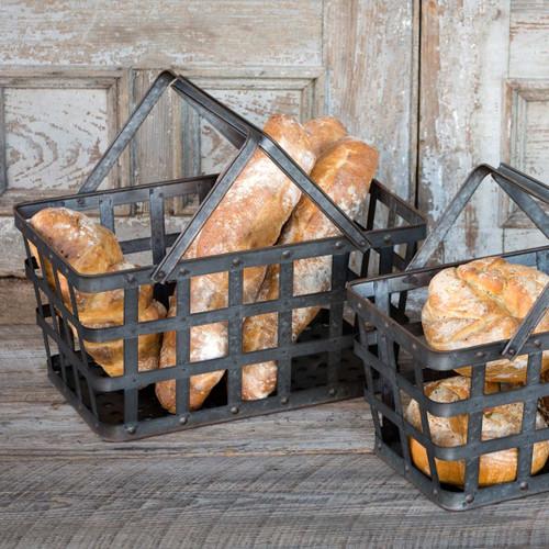 Metal Market Baskets, Set of 2