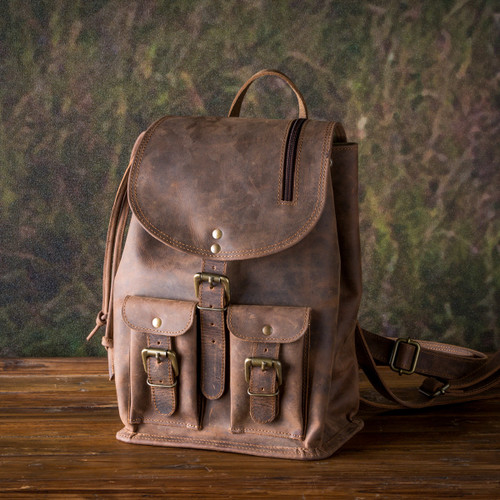 Leather Day Trip Buffalo Finish Backpack