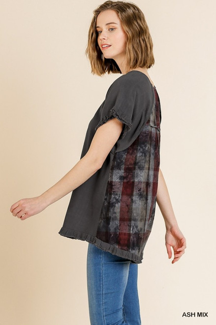 Aurora Plaid Ruffle Frayed Hem Top (Ash Mix)