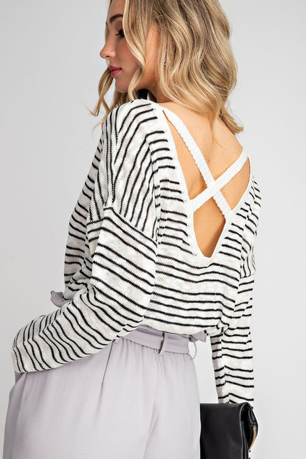 Shylo Striped Cross Back Sweater