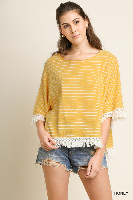 Avery Striped Tassel Trim Top (Honey)