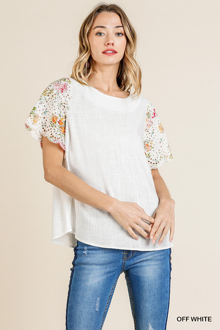 Alyssa Eyelet Sleeve Top (White)