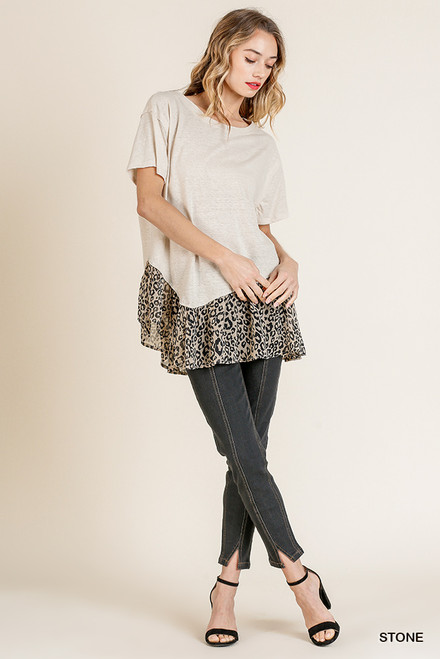 Sutton Animal Print Neck Top (Stone)