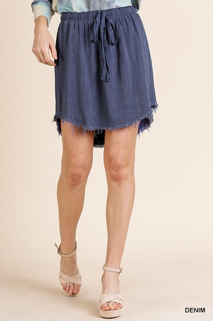 Adela Hi Low Fringe Hem Skirt (Denim)