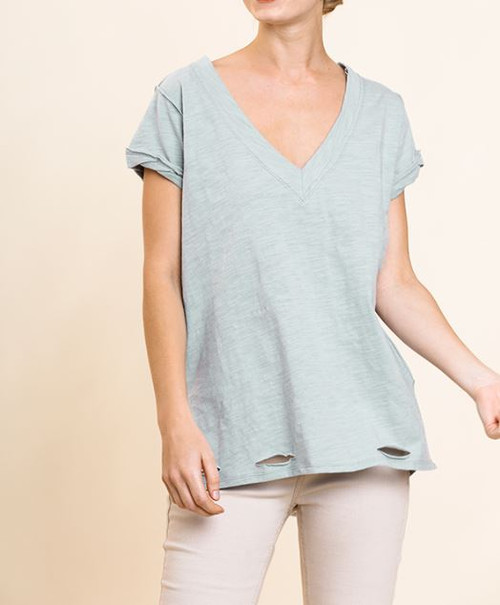 Cleo Distressed V-Neck Top (Pale Blue)