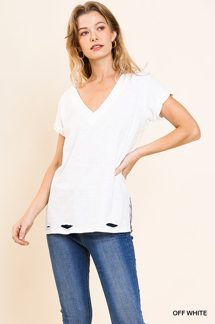 Cleo Distressed V-Neck Top (White)