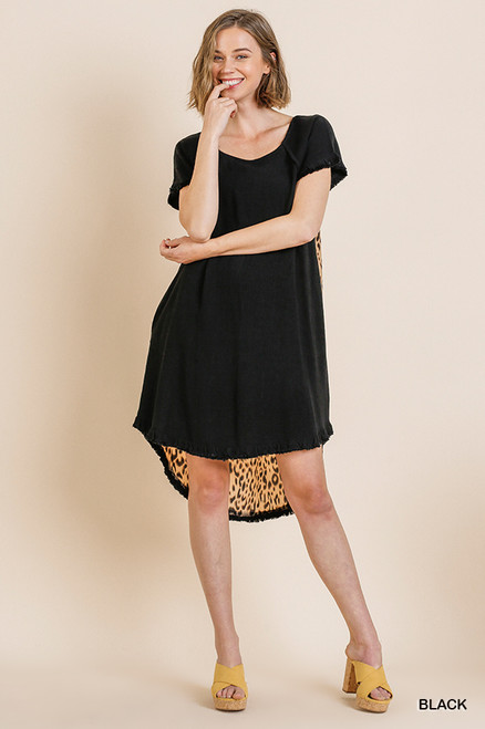 Andrea Hi Low Leopard Back Dress (Black)