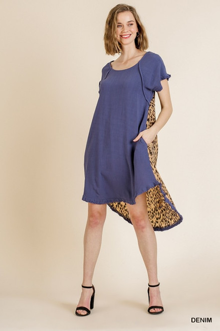 Andrea Hi Low Leopard Back Dress (Denim)