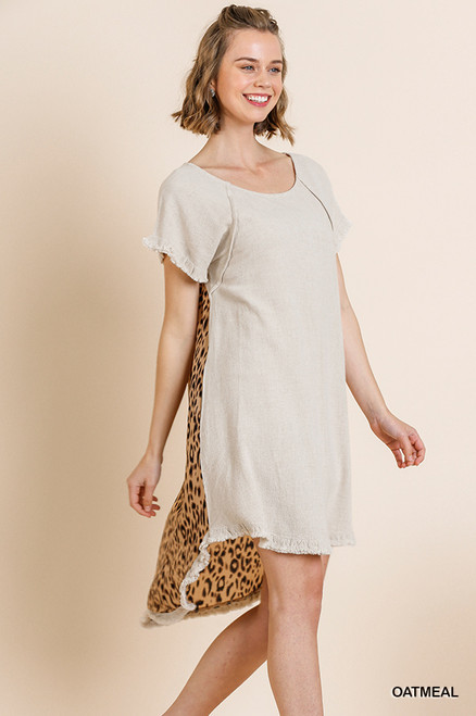 Andrea Hi Low Leopard Back Dress (Oatmeal)