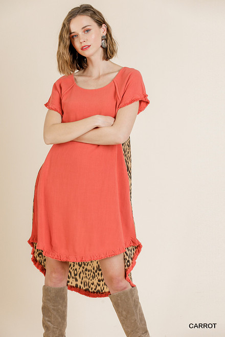 Andrea Hi Low Leopard Back Dress (Carrot)
