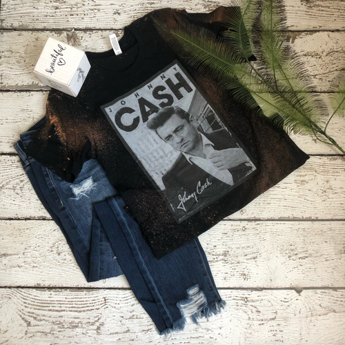 Johnny Cash Bleached Tee (Black)