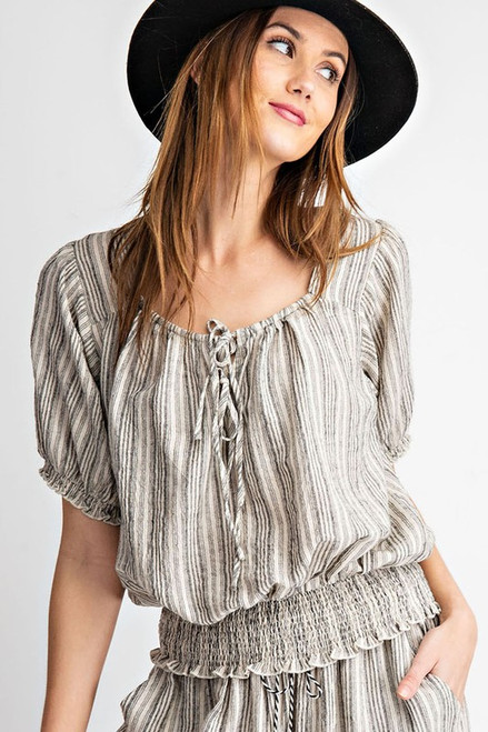 Kenzie Stripe Cropped Blouse (Black)