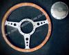 "Flat Dark Wood 13"" steering wheel & chrome fixing boss"