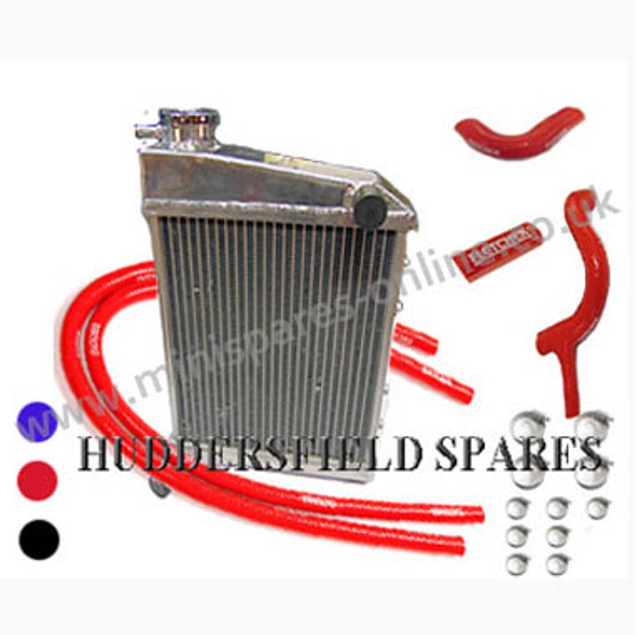 2 Core Polished Alloy Radiator & Silicone Hose Kit Cooper S/1275cc, GRH247 kit