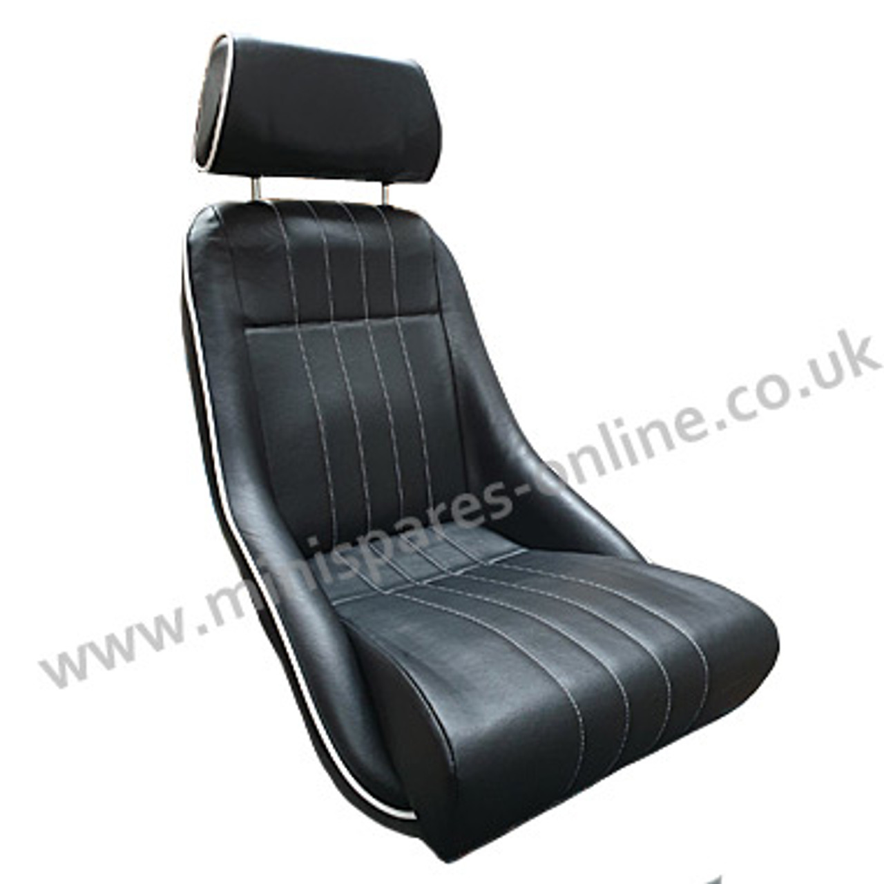 Cobra Classic (with headrest) Black Piped and Stitched White Full Interior with 8pce Black Carpet