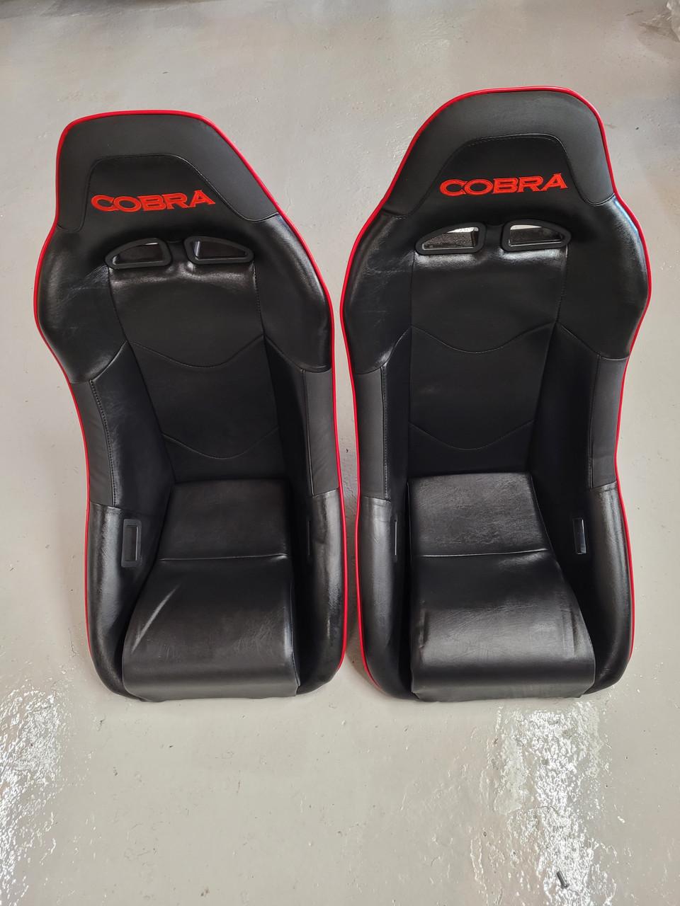 Cobra Clubman Black Red Piping Vinyl Seats T8