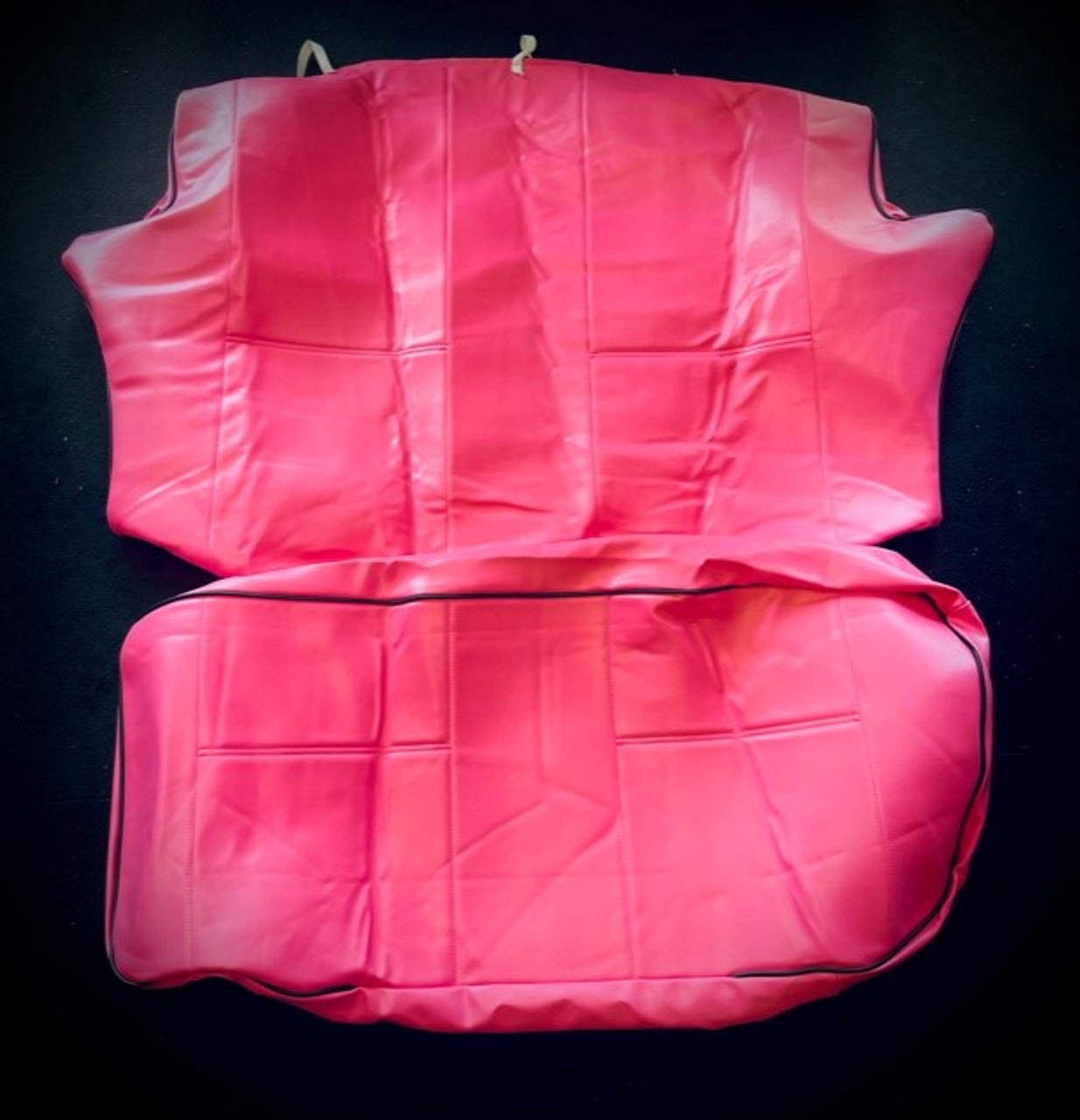 Pink with Black  pipe rear seat covers for classic mini (CODE 10)
