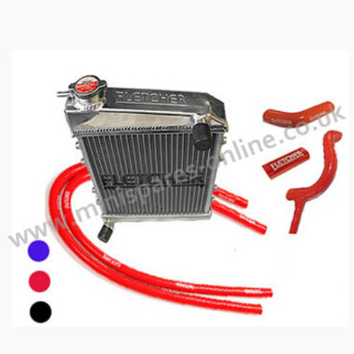 Fletcher Alloy Radiator & Silicone Hose Kit & clips 850/998/1098cc, GRH245 kit