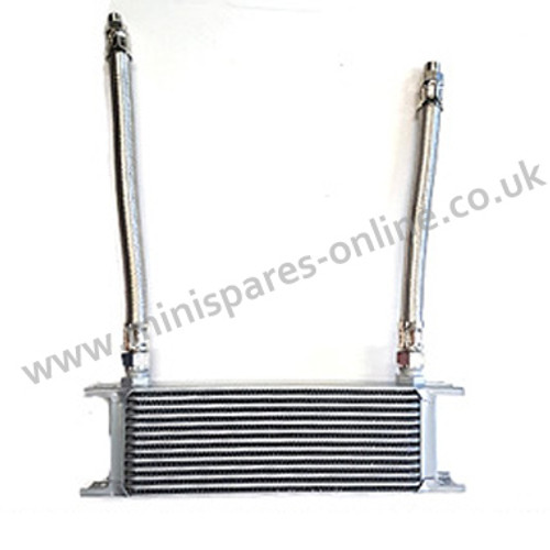 Oil cooler with braided hoses