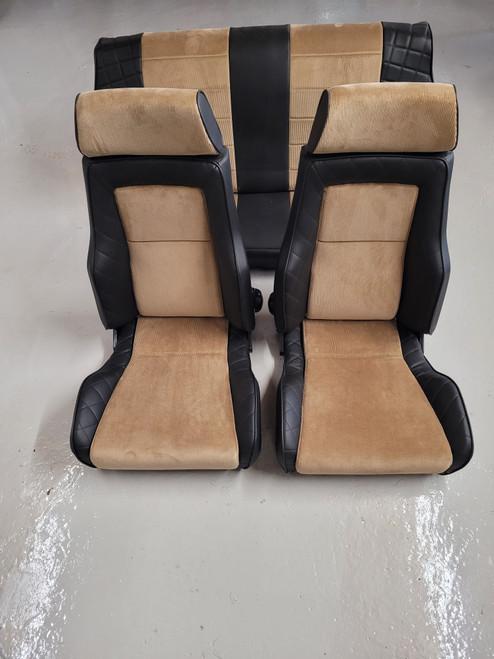 Cobra Alpine Fawn Signature Classic Seat for classic Mini with Rear Seat Cover