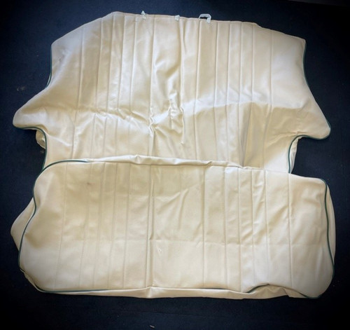 Cream with green pipe rear seat covers for classic mini (CODE 7)