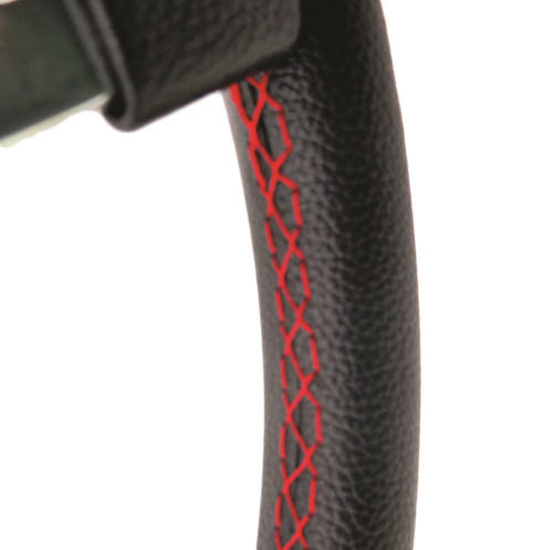 """11"""" Black with red stitching Race type steering wheel for Classic Mini"""