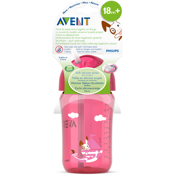 Straw Cup 340ml Pink/Blue