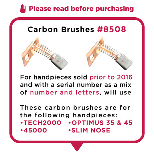 Square Carbon Brushes (2)  for TECH2000/45K/Optimus- OLD STYLE