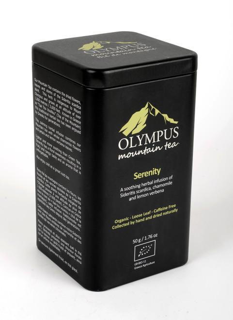 Serenity  OLYMPUS Mountain Tea. Organic Tea Herb Mix of:  Sideritis Scardica (Greek Mountain Tea) - Chamomile- Lemon Verbena. Metal Tin Box 50 g / 1.76 oz