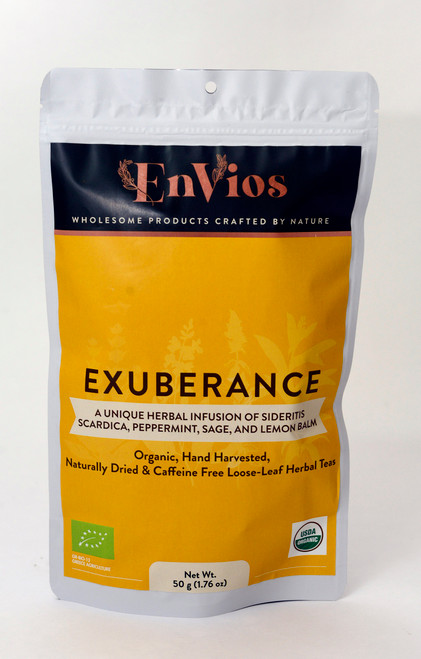 Exuberance. Organic Herbal Tea infusion of Sideritis Scardica, Peppermint, Sage, and Lemon Balm by EnVios 50 g/ 1.76 oz.