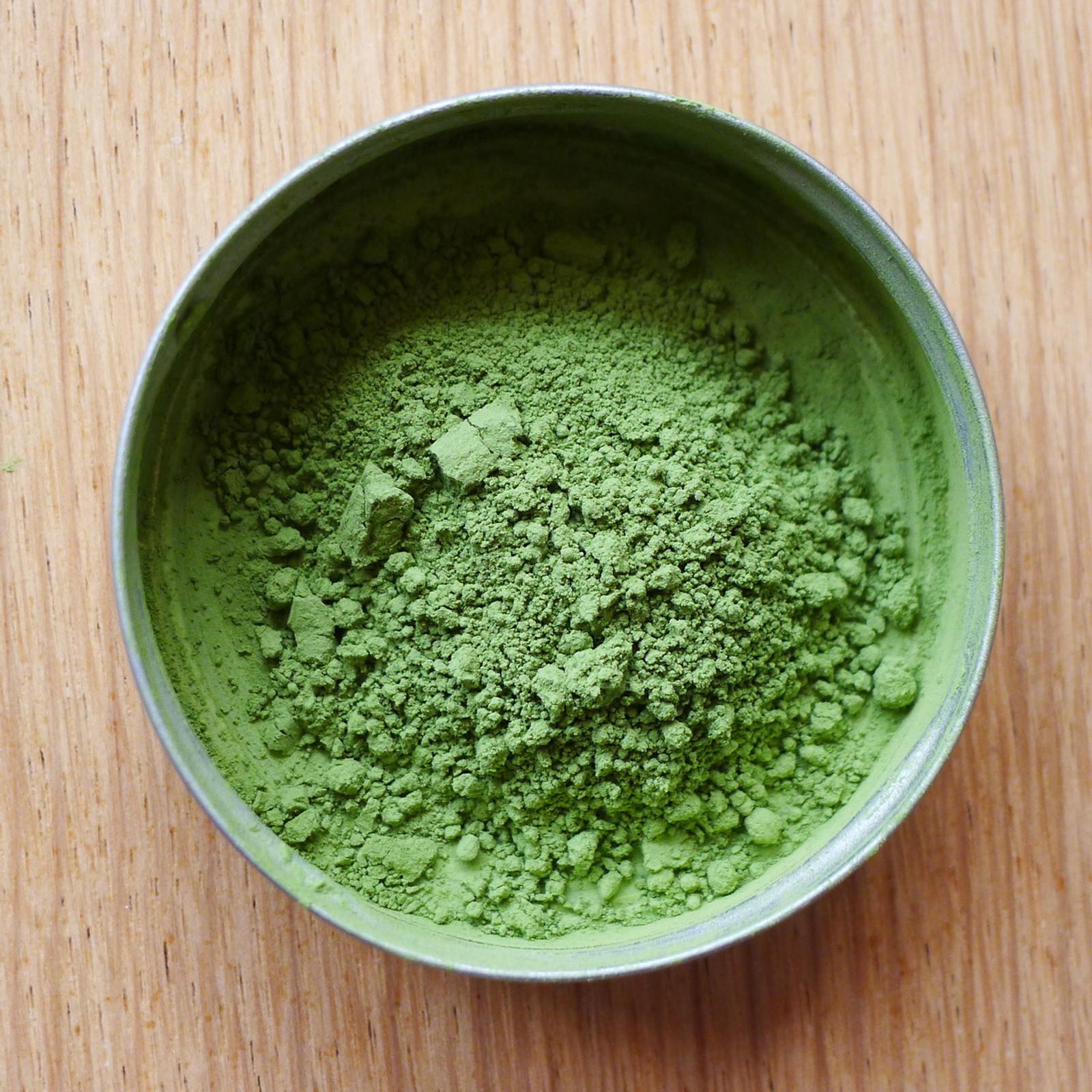 Pure Matcha green tea powder, full of chlorophyl and beneficial amino acids