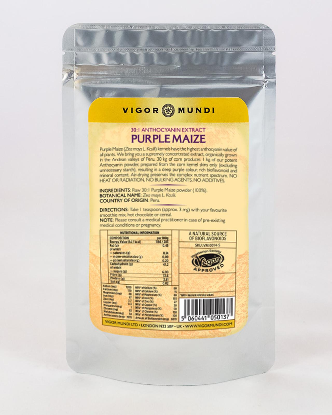 Order 100 g organically grown Purple Corn or Purple Maize from Peru online at Vigor Mundi
