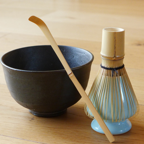 Artisanal bowl, bamboo scoop, Matcha brush and holder