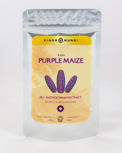 Concentrated Purple Corn or Purple Maize extract 30:1 anthocyanins. 100 gram. Buy online at Vigor Mundi