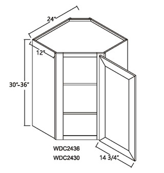 "Diagonal Wall Cabinet 1 Door 12"" Deep"