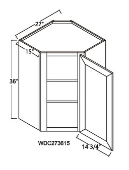 "Diagonal Wall Cabinet 1 Door 15"" Deep"