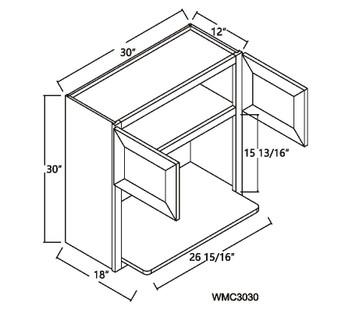 "Microwave Wall Cabinet 2 Doors 30"" - 42"""
