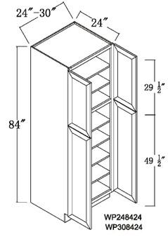 """Pantry Tall Cabinet 4 Door 84"""""""