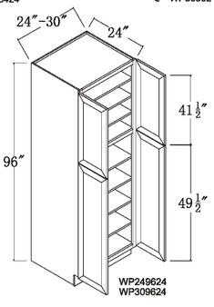 """Pantry Tall Cabinet 4 Door 96"""""""