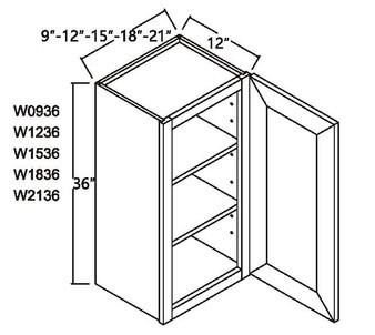 """Standard Wall Cabinet 1 Door 36"""""""