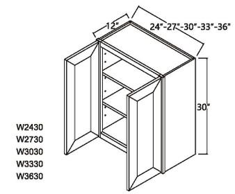 """Standard Wall Cabinet 2 Door 30"""""""