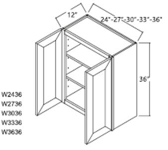"""Standard Wall Cabinet 2 Door 36"""""""