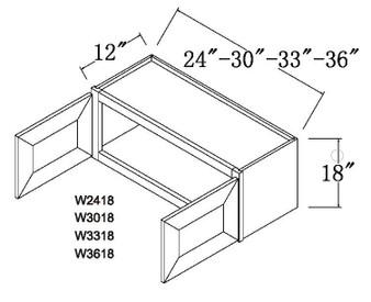 """Standard Wall Cabinet 2 Door 18"""""""