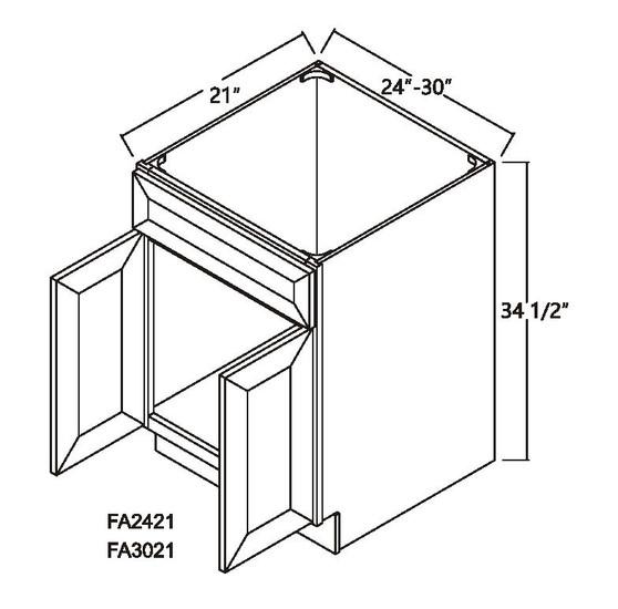 Sink Base Vanity Cabinet 2 Doors 1 Dummy Drawer
